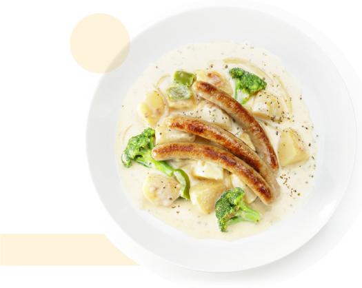 野菜クリームシチューのローストソーセージのせ