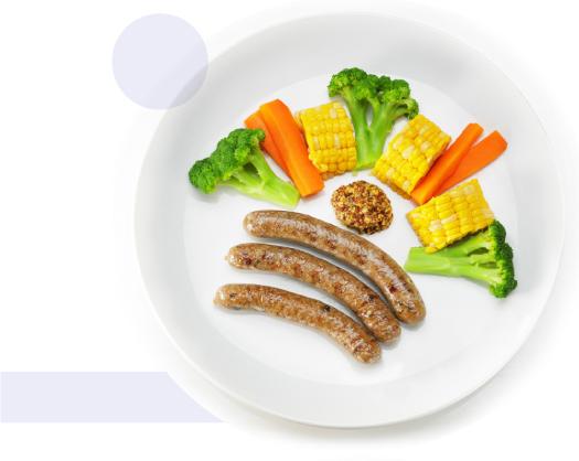 季節の蒸し野菜とベイクドソーセージ